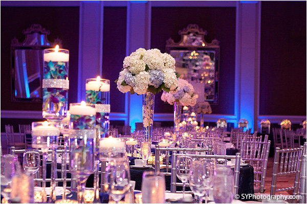 Modern Indian wedding decorations fill this classy Indian wedding venue.