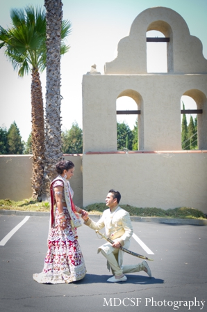 Indian bride and groom portraits before indian wedding ceremony.