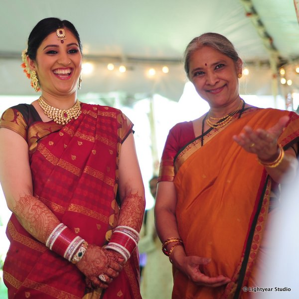 A South Indian bride at her traditional Indian wedding.