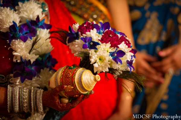Indian wedding bouquet ideas for sparkle peacock theme.