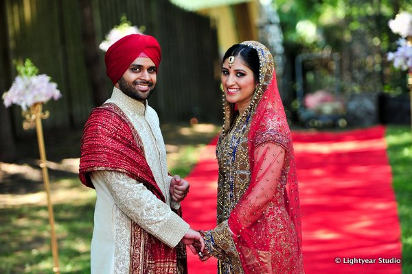 An Indian bride and groom after their Sikh wedding.