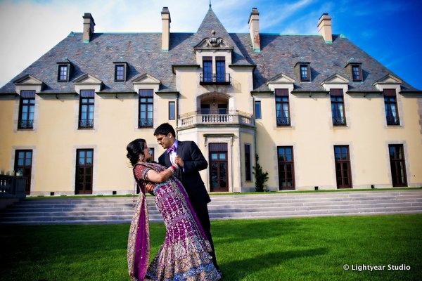 An Indian bride and groom before their Indian wedding reception at Oheka Castle.