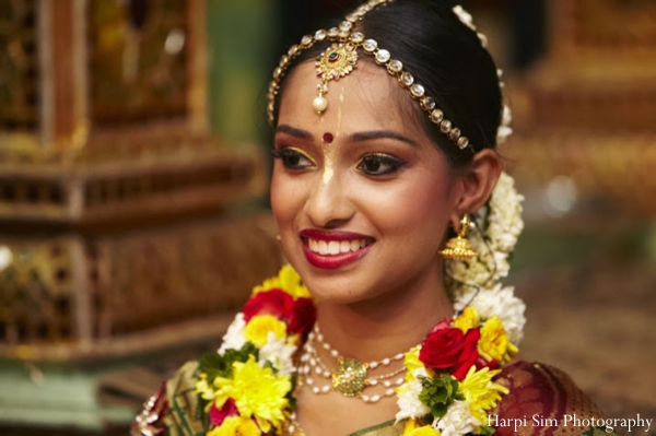 Indian bride in her traditional Indian bridal jewelry set.