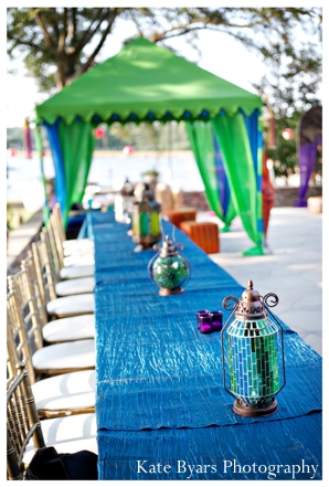 Indian wedding decor ideas for the tablesetting of a mehndi party.