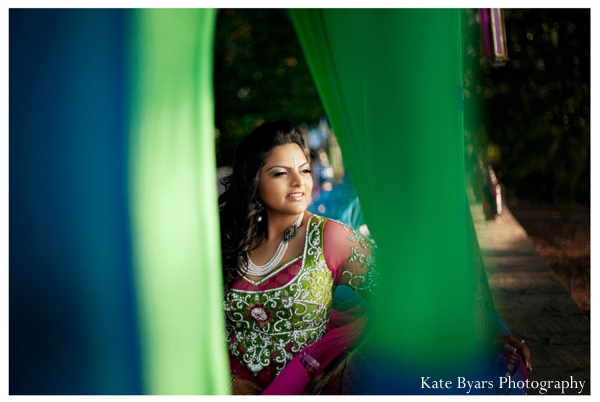 Indian bride at her outdoor mehndi party before the indian wedding ceremony.