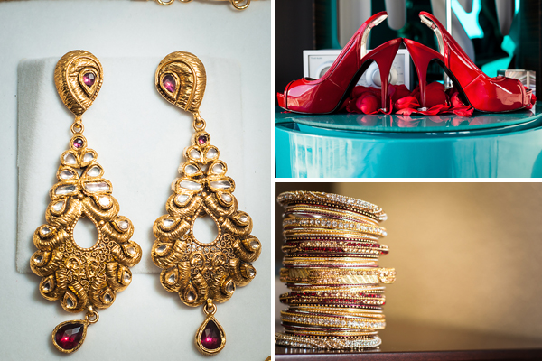Indian bridal jewelry consists of gold jewelry with red gems.