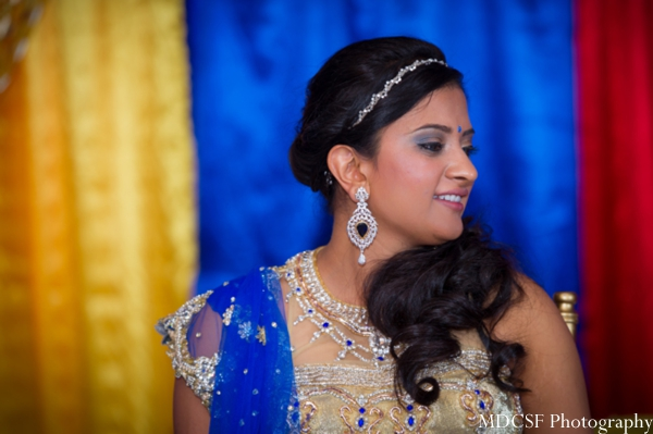 Indian bridal jewelry at an Indian wedding mehndi party.