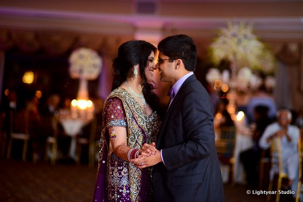An Indian bride and groom at their New York Indian wedding reception.