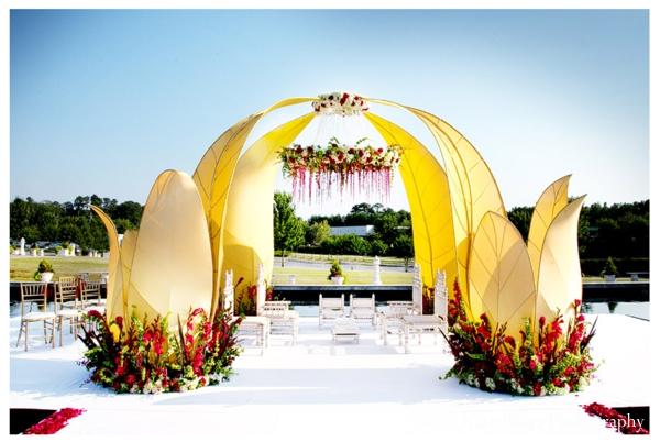 Modern mandap for outdoor Indian wedding decor ideas.