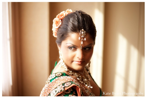 Indian bridal hair and makeup ideas at this romantic Indian wedding reception.