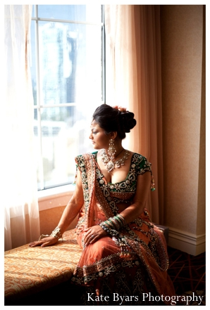 Indian wedding photographer captures indian bride in her bridal lengha and indian bridal jewelry set.