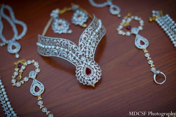Indian bridal jewelry set in white gold and ruby.