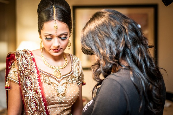 An Indian brides prepares for her Indian wedding ceremony in Atlanta, Georgia.
