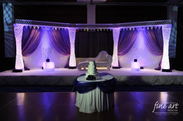 Ideas for Indian wedding reception in purple and white.
