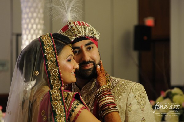 Indian wedding photographer captures an Indian bride and groom at their Indian wedding.