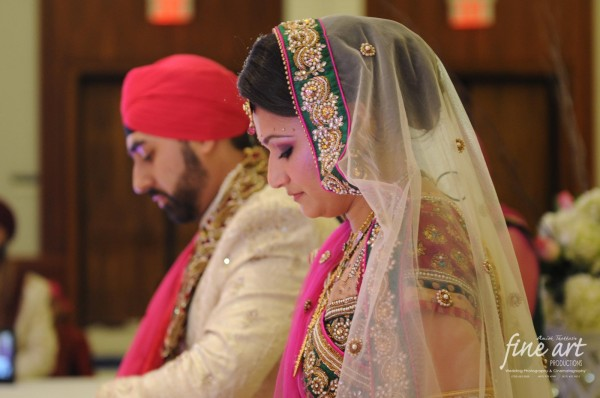 An Indian bride and groom at their traditional Indian wedding.