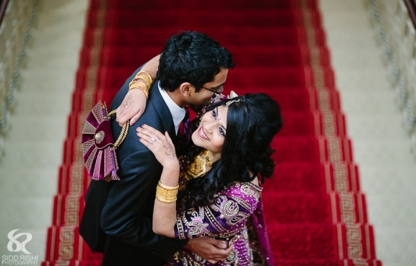 Indian bride and groom in professional Indian wedding photography.