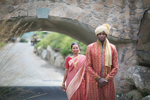 An Indian bride and groom at the first look wedding photos.