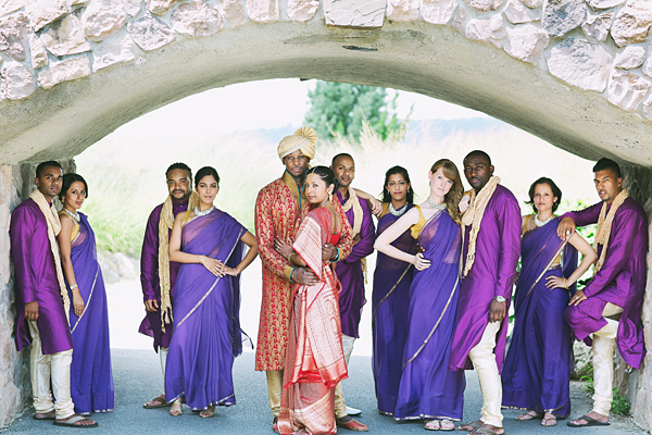 A fusion Indian wedding and the bridal party.
