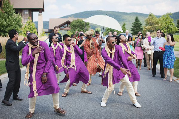 The groomsmen of this Indian wedding march to meet the bride.