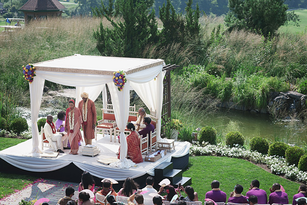 The fusion Indian wedding takes place at a scenic golf course in New Jersey.
