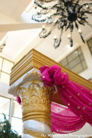 Indian wedding ideas for a fabric and pillar mandap.