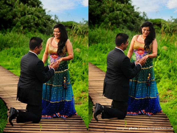 Indian bride and groom have engagement photos in South Africa.