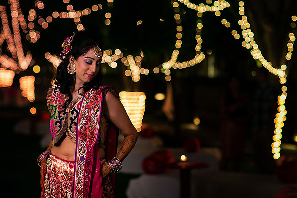 An Indian bride at her sangeet in Udaipur, India.