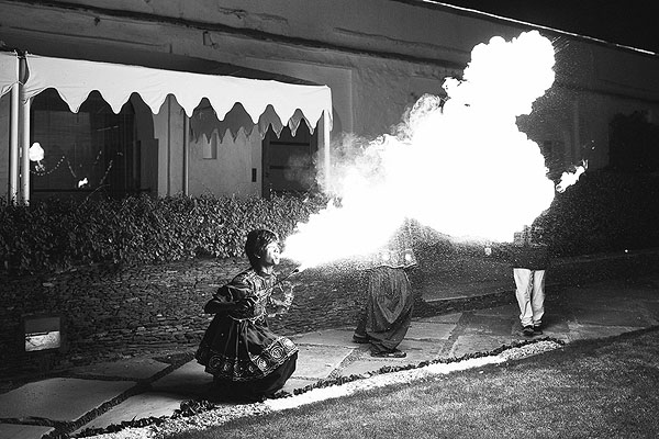 Fire breathers blow up the spot at a gorgeous sangeet in Udaipur, India.