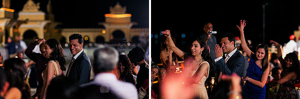 An Indian bride and groom dance at their welcome dinner.