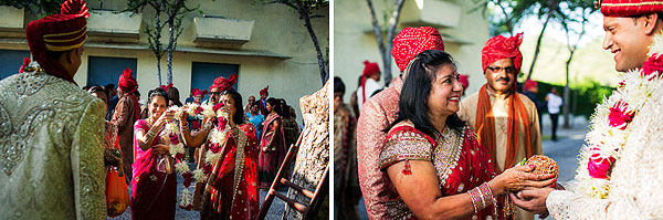 Guests meet the groom with gifts at this Indian wedding ceremony.