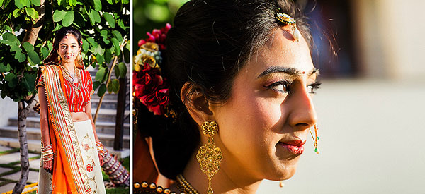 An Indian bride wears an orange lengha in these Indian wedding photos.