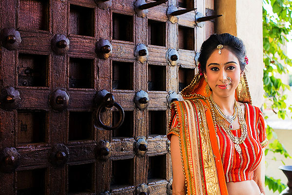 An Indian bride before her Indian wedding ceremony in Udaipur, India.