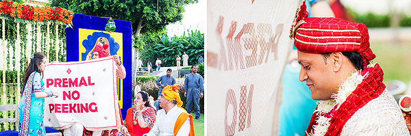 A white sheet separates a groom from seeing his approaching Indian bride!