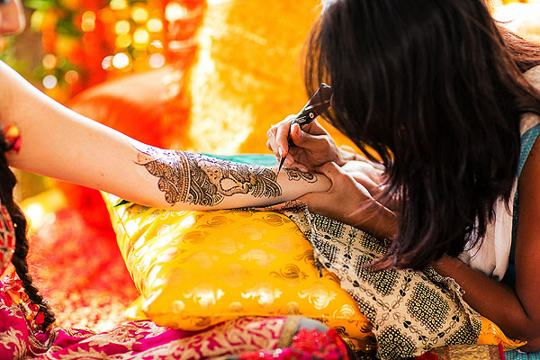 An Indian bride receives bridal mehndi in Udaipur, India.