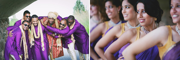 Indian bridal party in purple.