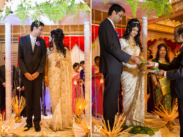 An Indian bride and groom exchanging wedding vows.