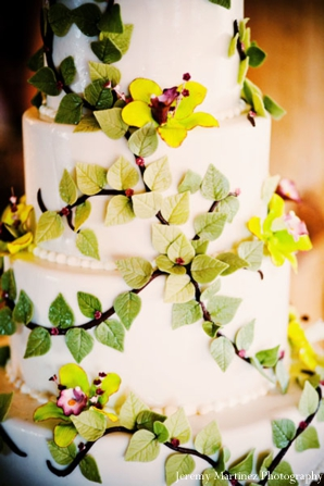 Floral and leaf design on Indian wedding cake.