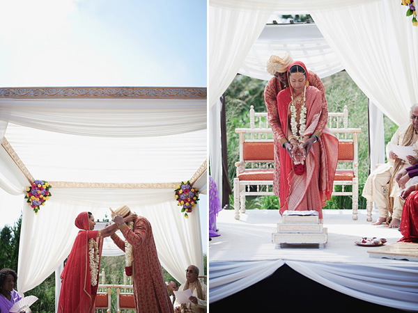 An Indian bride and groom wed at this fusion Indian wedding.