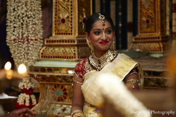 South indian bride at her Indian wedding ceremony.