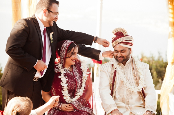A Indian bride and groom at their fusion Indian wedding.