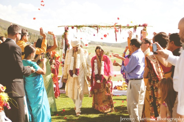 An Indian bride and groom wed at their Hindu wedding ceremony.