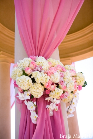 Indian wedding ceremony decor ideas for a pink and white wedding.