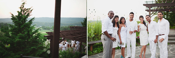 Guests wore all white to this Indian wedding welcome party in New Jersey.