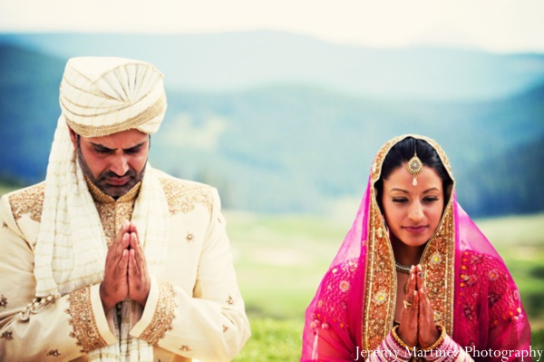 Indian bride and groom portrait from professional Indian photographers.