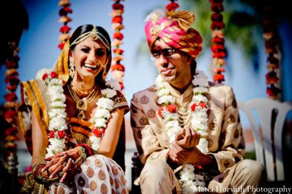 Indian bride and groom marry at an outdoor SoCal Indian wedding.