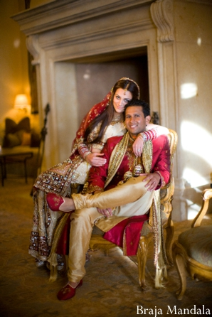 professional indian wedding photography portrait of indian bride and groom.