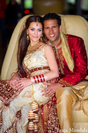 Professional indian wedding photography has indian bride and groom portrait.