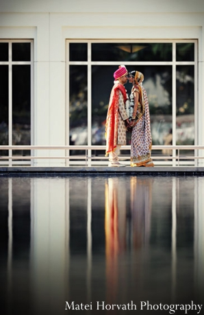 An Indian bride and groom pictured at their Indian wedding ceremony.