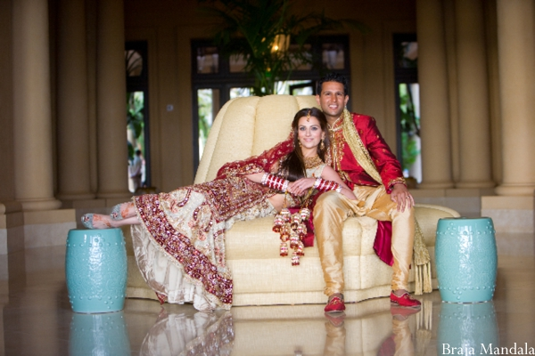 indian bride and groom in their indian wedding day portrait.